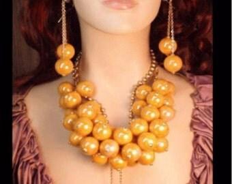 Reserved for sarah vintage HUGE Runway designer BAUBLE necklace statement piece shoulder duster earrings