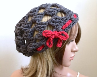 The Millennial-PLUS - All Season Slouchy Beanie - Summertime Beach Hat Handmade in 100 Pct. Cotton - Gray and Red - Removable Ribbon Tie