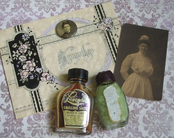 Antique Sympathy Card Mourning Pin Smelling Salts and Nurse Photo