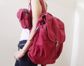 New Year SALE - 20% OFF Kinies Backpack with pouch in Dark Red / Satchel / Rucksack / waist pouch / Women / Men / For Him / For Her / Gift