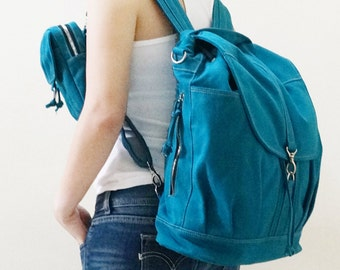 Back To School SALE - 20% OFF Kinies Backpack with pouch in Teal / Satchel / Rucksack  / Women / Men / For Him / For Her / Gift Idea