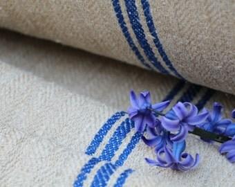 C 227 antique hemp linen roll 46.99y handloomed upholstery BRIGHT BLUE stairrunner