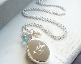 Silver Locket with Bluebird Engraving and Birthstone Charm