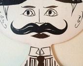 Vintage Gentlemen's Head Face Clothing Hanger Victorian Retro Dapper Man Store Display, Boutique or Home Décor
