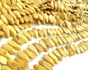 25 Slidecut Nangka Wood Beads - Yellow Wood Bead 18mm