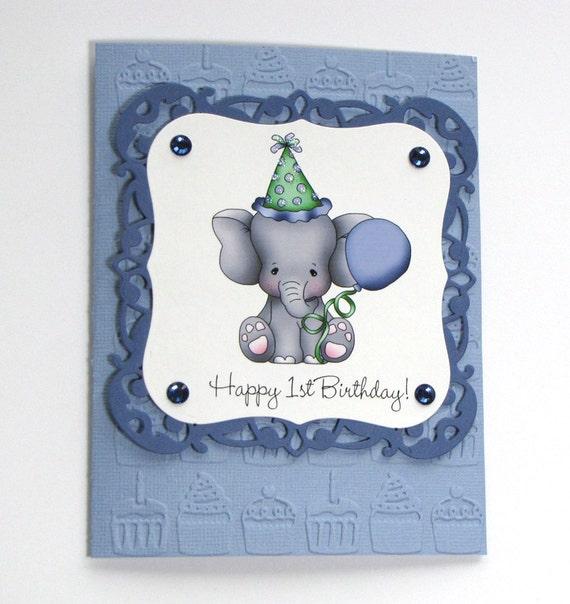 First Birthday Card Boy Elephant Card Greeting By CatSCRAPPIN