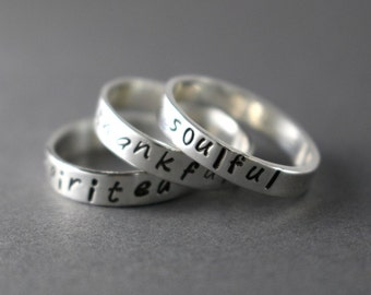 Stack Rings Name Rings Word Rings Personalized Name Rings Sterling Stack Rings Custom Rings Stack Band Silver Ring Poet Ring