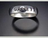 Thin band personalized ring brushed finish