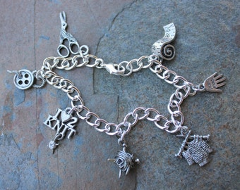 Love to Knit Silver Charm Bracelet - sweater, knitting needles, ball of yarn charms and more -Free Shipping USA