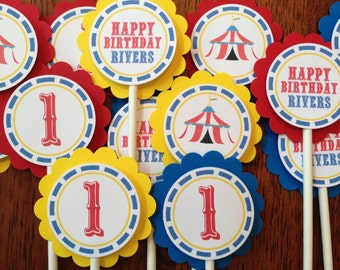 Carnival Circus Personalized Cupcake Toppers