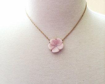 Vintage Signed Pink Lotus Blossom Flower Pendant Choker Necklace