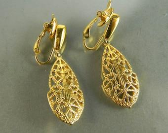 Vintage Trifari Filigree ClipOn Earrings (Goldtone)