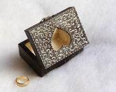 Dark Wedding Ring Bearer Pillow Box - Pillow Alternative - Heart ring box - Rustic Boho