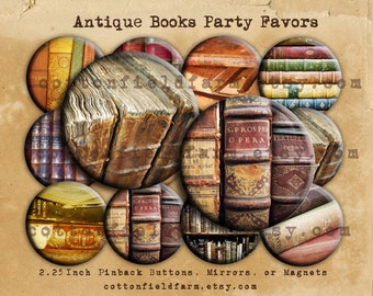 "Antique Books Party Favors 2.25"" Pin Back Buttons, Mirrors, or Magnets, Your choice, Set of 12"