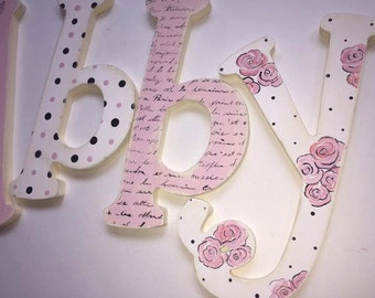 French Romance Shabby Chic Hand Painted Wooden Letters