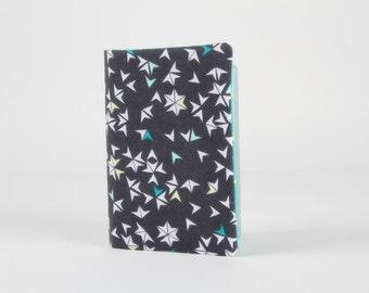Fabric card holder - Star flight in grey / Soft Cactus / geometric chevron / charcoal mint green white / Little leaves / Spring modern