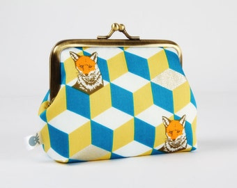 Metal frame coin purse - Fox bow in teal and yellow - Deep dad / Echino Japanese fabric / Metallic gold print / Geometric modern / Foxes