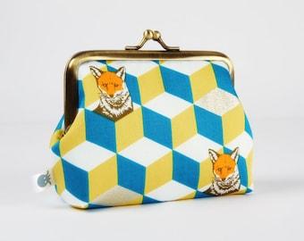 Metal frame coin purse - Fox bow in teal and yellow - Deep dad / Echino Japanese fabric / Metallic gold print / Geometric modern / Foxes