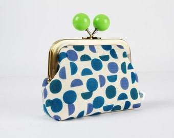 Metal frame coin purse with color bobble - Shades in blue - Color dad / Japanese fabric / Geometric / Ellen Luckett Baker / Monochrome