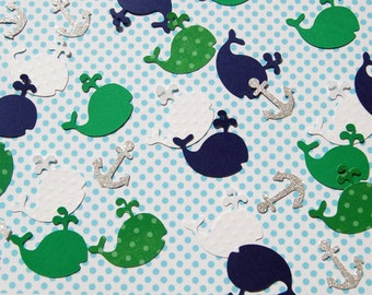 150 pieces table confetti whale and anchor baby shower theme navy green silver white by urbansavanna