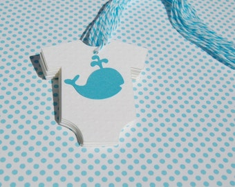 whale theme baby shower onesie with aqua whale embossed dot cardstock set of 12 aqua white bakers twine thank you tag wish tag
