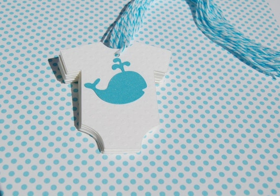 whale theme baby shower onesie with aqua whale embossed dot cardstock
