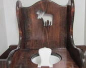 Wooden Potty Chair for Toddler, with Moose, Book Rack and Toilet Paper Holder~Potty Training~Toddler Potty Chair~Baby Shower Gift~ Child