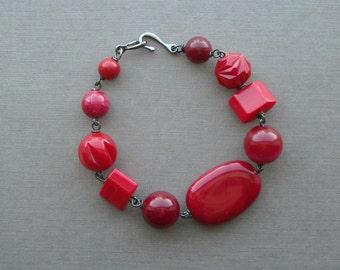 red baron bracelet - vintage lucite and gunmetal
