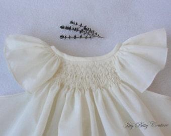 Smocked baby dress, smocked christening dress , ivory christening dress, angel sleeves