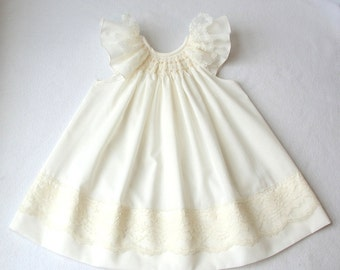 Smocked Baby Dress, Smocked Christening dress,  in white or ivory/ Hand smocked christening gown / Baptismal Dress