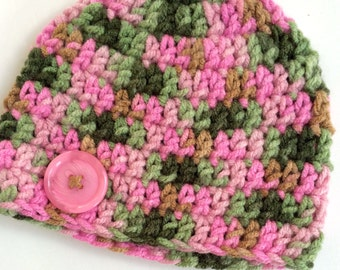 Newborn girl 0-3 months baby hat beanie camo boy infant hat baby photo prop Ready To Ship