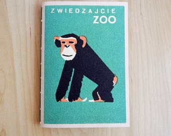 Chimpanzee Notebook - Zoo themed notebook journal - Russian Matchbox design card cover.  Hand made book.  Fathers Day Gift.