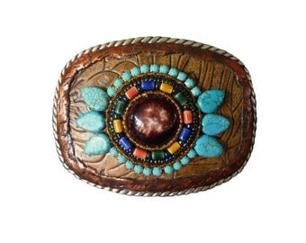 Western Southwestern Beaded Rhinestone and Leather Belt Buckle with Turquoise Howlite