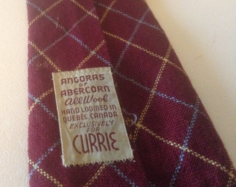 Vintage Burgundy Large Check Wool Tie, Angoras of Abercorn, Loomed in Quebec, Currie