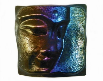 Buddah in Iridescent Art Glass. Fused glass wall or table art by Uneek Glass Fusions
