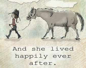 "And she lived happily ever after.  Horse art collage.  Dana's Doodles 8"" x 8"""