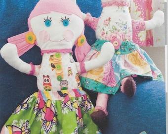 Sale!  Roxy & Lola Ragdolls pattern (PFP029) - Pink Fig