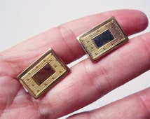 Vintage Anson 12K Gold-Filled Cuff Links - Art Deco Style Rectangle Cuff Links - 1950s-1960s Cuff Links - Fathers Day Gift