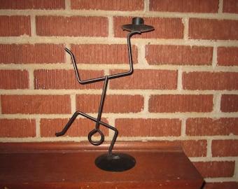 Vintage Mid Century Modern Whimsical Black Metal Figural Candle Holder