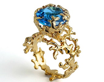 CORAL Blue Topaz Engagement Ring, Blue Topaz Ring Gold, 14k Gold Ring, Unique Gold Ring, Gold Gemstone Ring, Organic Gold Ring