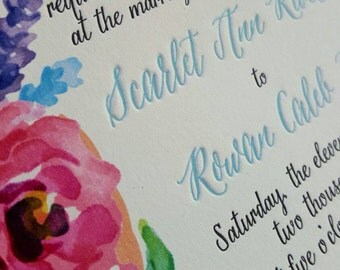 Watercolor Wedding Invitations for Rustic Garden Wedding, Letterpress and Watercolor, Floral Watercolor Invitations