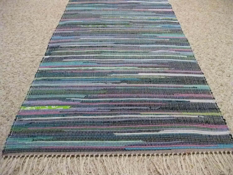 Handwoven teal navy lime mauve rag rug 25 x 56 m for Navy and teal rug