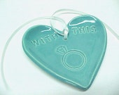 Heart Ring Holder, With This Ring, Turquoise Blue Glaze