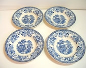 Clarice Cliff Tonquin Royal Staffordshire Bowls, Blue And White, Set Of Four