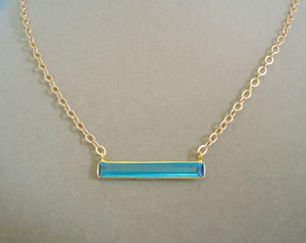 LIMITED EDITION -- Aquamarine Quartz Bar and Gold Cable Chain Necklace -- Perfect Pendant Collection