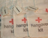 Hangover Kit Bags, DIY Hangover Bags, Personalized Name Tag, Wedding Favor Bags, Bachorlette Favors, Bachelor Favors