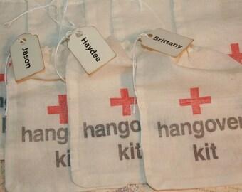 Hangover Kit Bags, DIY Hangover Bags, Personalized Name Tag, Wedding Favor Bags, Bachorlette Favors, Bachelor Favors