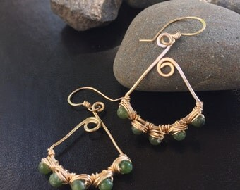 Jade Green Wrapped in Gold Earrings
