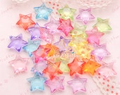 Acrylic Translucent Star Beads (15mm) | Star Pendants Star Charm Kandi Beads Kawaii Bracelet Chunky Necklace - 101pc approx.