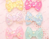 Star Confetti Bow Resin Cabochon - 6pc | Kawaii Cabochon Decoden Supplies Jewelry Making
